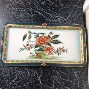 Vintage bohemian tin tray